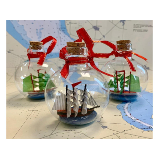 Schiff in Glaskugel 3er Set